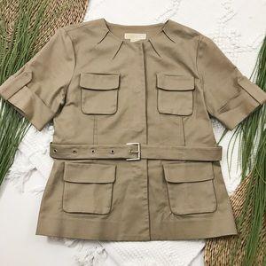 Michael Kors Khaki Safari Style Top